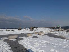 Schneespielplatz am Strand